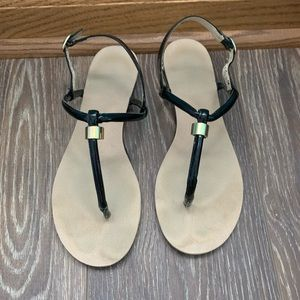 Nine West Black Leather T-Strap Sandals